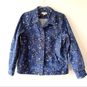 Appleseed's Floral Blue Jean Jacket Size Large